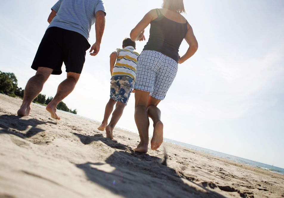 Family On Cobourg Beach