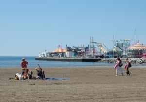 Cobourg beach with the midway in the background