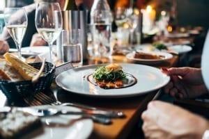Fancy steak dinner at a restaurant