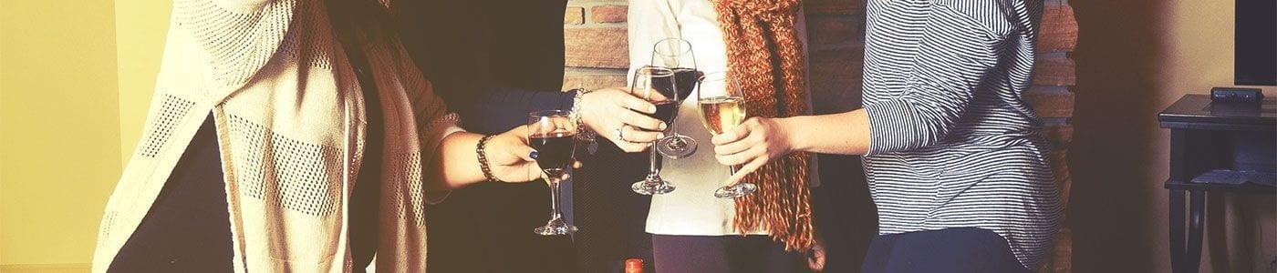 Women celebrating with wine
