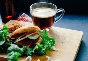 Fresh sandwich with tea