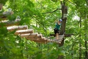 Treetop Trekking participant cross between trees