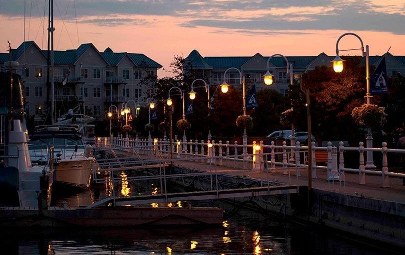 Cobourg Marina in the evening