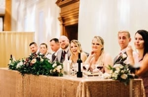 Head table during the wedding reception at Victoria Hall