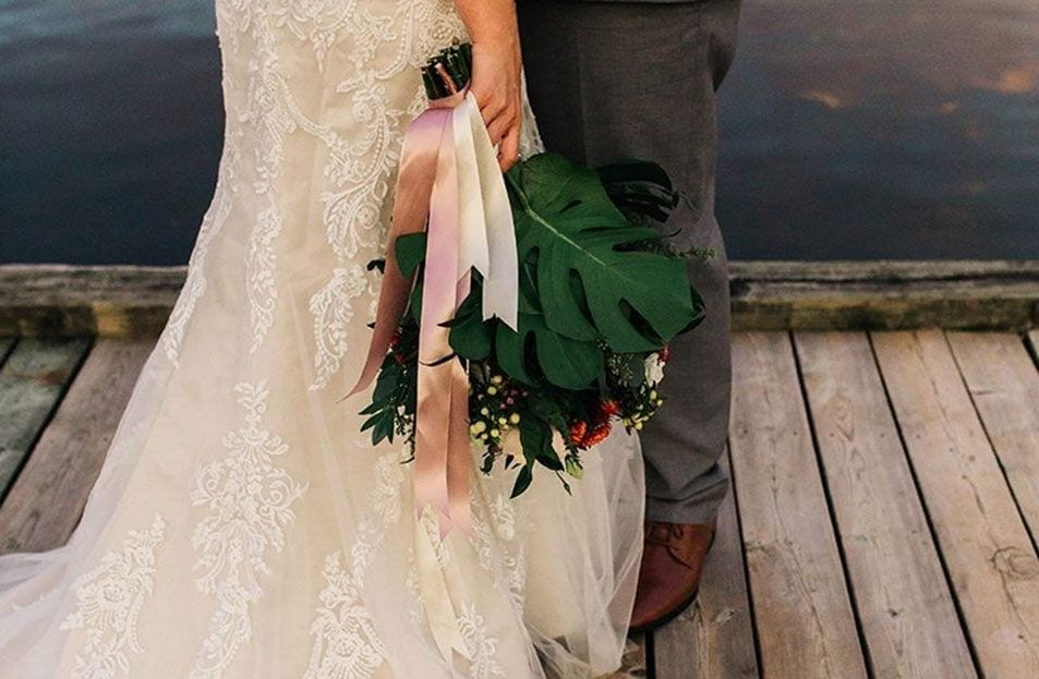 Bride and groom at the Cobourg Harbour